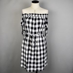 (Ann Taylor LOFT) Gingham Off the Shoulder Dress